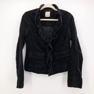 FREE PEOPLE Anthropologie Velvet Ruffle Jacket